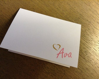 Personalized Heart Notecard -Folded 3 1/2 x 5
