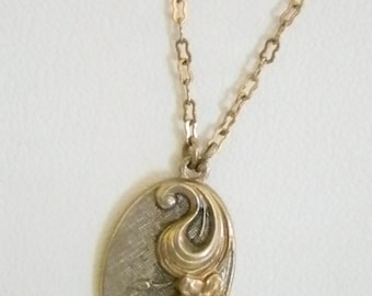 Gold Silver Tone Oval Floral Pendant with Rose Gold Chain Necklace
