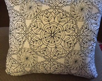 Blank Adult Coloring Book Page with a Touch of Pink pillow