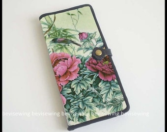 Handmade Long Wallet/Chinese Style flower and bird pattern wallets/leather hasp/leather catch/three layers/six card slots