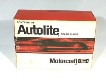 Autolite Ford, Spark Plugs, Motorcraft, Vintage Auto Parts, AF 32, NOS Sealed Box, Vintage Car Part, Mercury