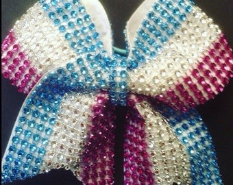 Cheer Bow ( blue,silver and pink)