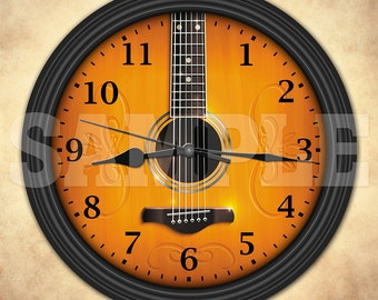 Acoustic Guitar Decorative Wall Clock - Music Decor - Musician Gift