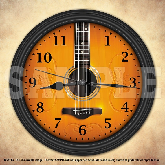Acoustic Guitar Decorative Wall Clock Music Decor Musician