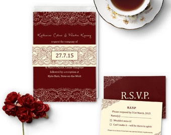 SAMPLE printed wedding invitation suite set, burgundy & ivory lace design, 3 pages + belly band