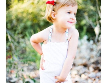 Terrycloth chenille romper with ribbon halter ties