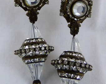 Sorrelli Rhinestone and Austrian Crystal Dangling Clip-On Earrings Stunning!