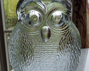 Vintage Blenko Clear Glass Owl Bookend Sculpture