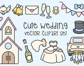 Premium Vector Clipart - Kawaii Wedding Clipart - Kawaii Clip Art Set - High Quality Vectors - Instant Download - Kawaii Clipart