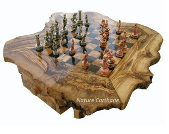 Birthday gift  / Olive wood rustic chess set board 20 Inch - Metal pieces / Original present