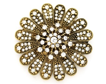 Gold Flower Brooch Antique Gold Crystal Flower Broach Pin Jewelry