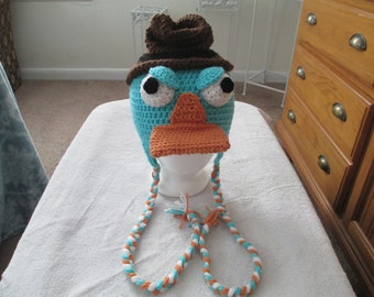Crocheted Inspired PERRY the PLATYPUS Hat---Photo Prop----Costume----All Sizes Available