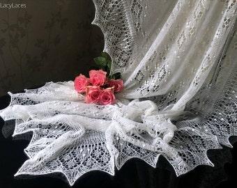 100% Cashmere PURE White, Handknitted Traditional Estonian Lace, Haapsalu Shawl FREE SHIPPING
