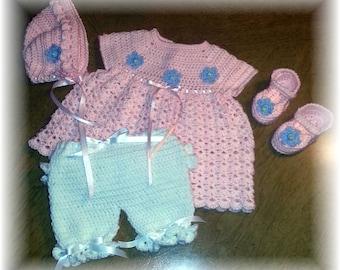 Crochet Baby Dress, Pantaloons, shoes and bonnet