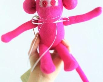 Sock Monkey-Mini-Handmade-Neon-Monkey-Pink-Plush-Hand Held-Pocket Size