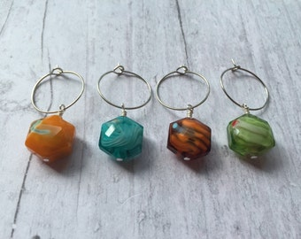 Wine charms, glass wine charms, colorful wine charms, wine tags
