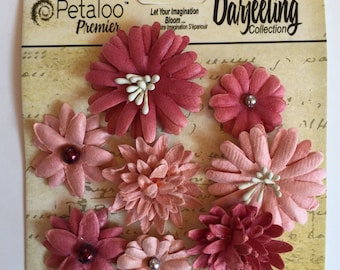 Paper flower, Petaloo Premiere Darjeeling Mini Mix Paper Flowers, pink paper flowers, scrapbook flower embellishment, flowers for cardmaking