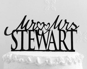 Mr and Mrs Stewart Wedding Cake Topper, Personalized with Last Name