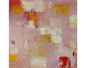 Original Abstract Oil Painting-Happy Tiles-Rose Desert on gallery stretched canvas, no need for frame-8x8in; ~20x20cm; wall art; pink, cream