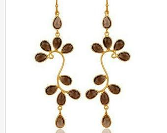 18K gold vermeil smokey topaz dangle earrings, 925 sterling silver