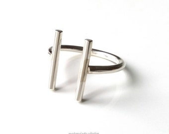 Features ring, semi-open, silver ring 925/000, adjustable size, parallel line ring - 925 silver ring