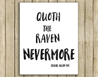 printable wall art Nevermore quote Edgar Allan Poe Raven instant download typography 8 x 10 art print home decor