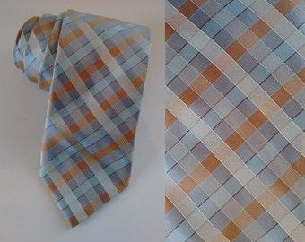 Pale Blue Grey Cream Gold Peach Check Pastel Silk Neck Tie made by Degusse
