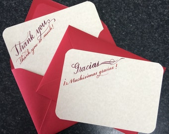 6 Thank you cards, red