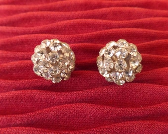 Reduced ....A Vintage Pair of Rhinestone Paste Diamonte Ball Earrings, Clip on.