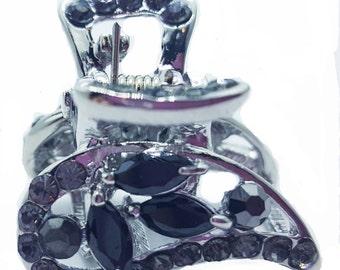 New Silver With Jet Black Crystal  Rhinestone 3/4'' Hair Claw Clip
