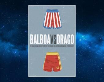 Rocky VS Ivan Drago (Shorts) Fridge Magnet. Minimalist, Pop Art