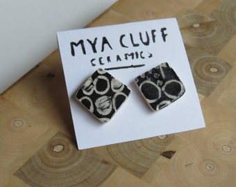 Black and White Ceramic Earring - Circles Partially filled