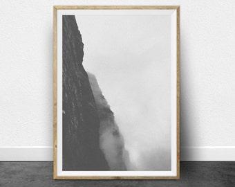 Black and White Photography, Printable Art, Mountain, Minimalist Art, Cliff Face, Printable Wall Decor, Gray Print, Minimalist Home Decor