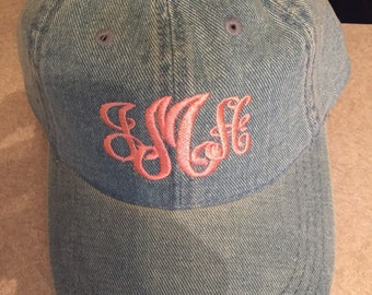 Denim baseball  cap, personalized baseball cap, monogrammed baseball cap, mom gift, birthday gift, denim cap,