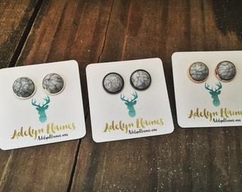 White Turquoise Howlite Earring Studs 12 mm