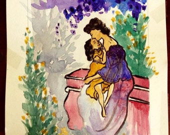 Original mother and child water color painting