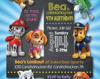 Paw Patrol Number Invitation--Digital File (Coordinating printables also available)