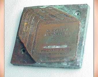 Vintage Copper Printer Block Plate Advertising Adkins and Durbrow Peat Moss