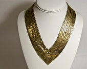 Vintage 1970s Mesh Metal Bib Necklace - Goldtone - 16 inches - Goldtone Chainmail Choker
