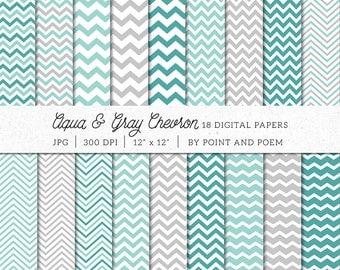 Aqua Gray Chevron Digital Paper Pack, Teal Mint Grey Chevrons Digital Scrapbook Paper Pack, Neutral Digital Paper
