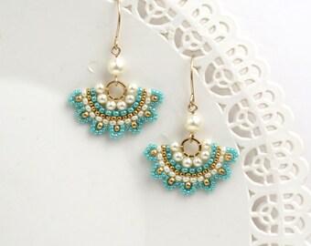 Earrings turquoise, Turquoise earrings dangle, Turquoise and gold earrings, Fan earrings, Turquoise dangle earrings, Beaded earrings