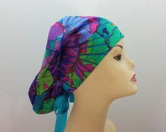 Women's surgical scrub hats, or scrub caps - Lotus Flower