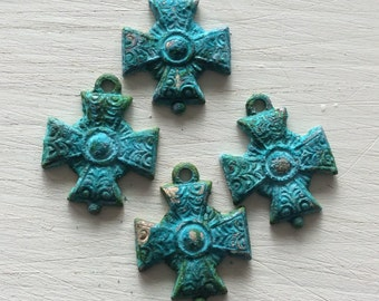 Verdigris brass small Maltese cross charms  4 pc
