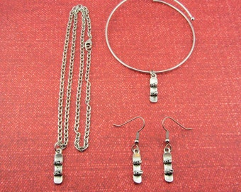 Snowboard Jewelry Gift Set - Snowboard Charm Jewelry - Love to Snowboard Gift - Snowboard Jewelry - Snowboard Necklace Earrings Bracelet