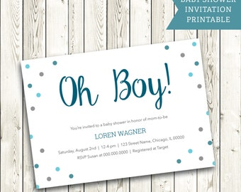 Oh Boy! Baby Shower Invite- blue modern baby shower invitation- classic baby shower printable for boy- white and blue shower party invites