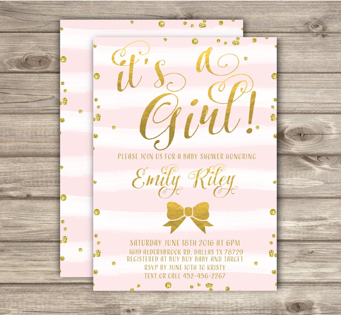 Baby Shower Thank You Tags Gift Tags Its A Girl Baby Shower Stripes Pink  And Gold