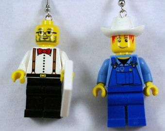Grandpa with newspaper and a Farmer Dangle Earrings Handmade from Lego bricks