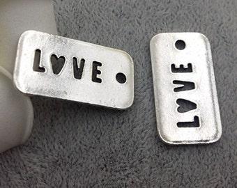 50pcs 17x32mm antique silver love charm pendant letters charm pendant hollow out charm pendant MF1514