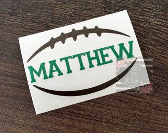 Personalized Football | Football Sticker | Sports Decal | Football Decal | Yeti Decal | Car Decal