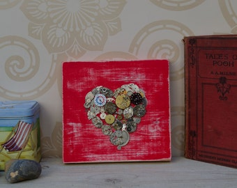 Steampunk love heart on reclaimed wood...cog heart collage..Valentines, wedding day or anniversary gift idea..eco friendly wall decor